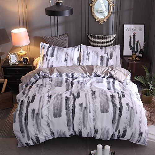 A Nice Night Watercolor Duvet Cover Set Multicolored Hand Decorative 3 Piece Bedding Set 2 Pillow Shams, Multicolor (Simple A, Queen) by A Nice Night