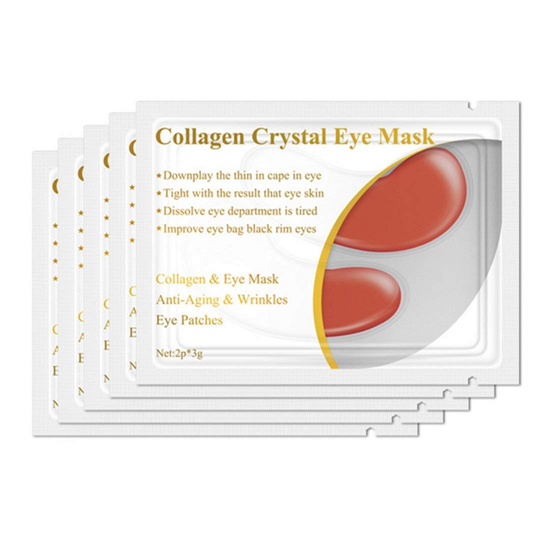 1pair Collagen Protein Eye Mask Eye Patches Removal Dark Circle Anti-Aging Anti-wrinkle Moisturizing Facial Firming Eye Care - Red Formulaone