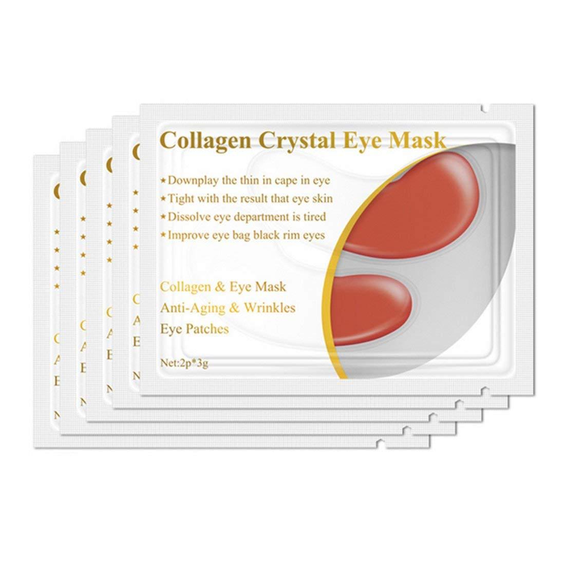 1pair Collagene Proteina Maschera per gli occhi Rimozione delle macchie oculari Cerchio scuro Anti-aging Anti-rughe Idratante Trattamento viso rassodante occhi - Rosso Formulaone