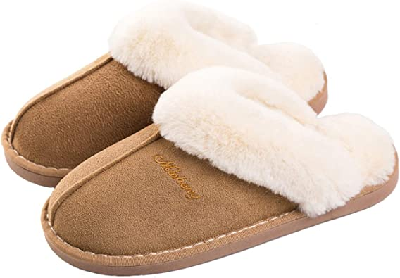 Womens Winter Slippers Indoor Outdoor Mules Plush-Lined Warm Fuffly House Shoes.