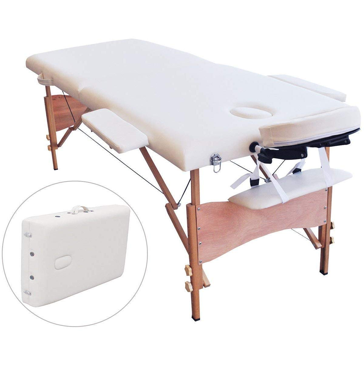 Folding Massage Table 84 Professional Portable 2 Fold Facial Massage Bed Salon SPA with Backrest with Carry Case White