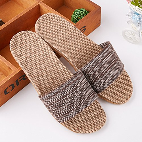 Breathable Flax Unisex Sandals Skidproof Toe Slipper Slippers Summer Beach NEAER Open Brown Indoor Linen qvT5dvw7