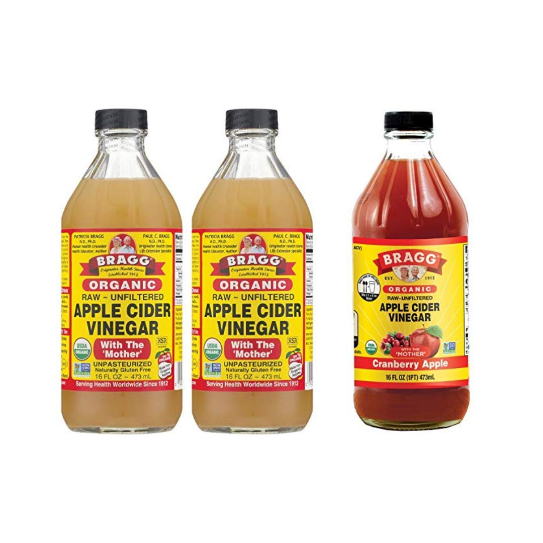 Bragg Organic Apple Cider Vinegar With the Mother 16 Ounce 2 Pack and Bragg Organic Apple Cider Vinegar Blends 16 Ounce with Cranberry Apple Bundle