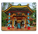 Luxlady Mouse Pad Natural Rubber Mousepad IMAGE ID: 34432468 View of old monastery beside garden Taken at Vihara Dewi Kwan Im Kraton Kawi Mountain Malang east Java Indonesia