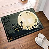 Beautiful NYMB Happy Halloween Bat Flying On The Moon Bath Rugs, Non Slip Floor  Entryways Outdoor Indoor Front Door Mat,60x40cm Bath Mat