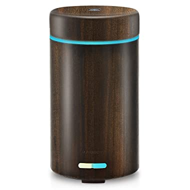 URPOWER Real Bamboo Essential Oil Diffuser Ultrasonic Cool Mist Aromatherapy Diffuser for Essential Oils with Adjustable Mist Mode 7 LED Colorful Lights and Waterless Auto Shut-off for Home Office