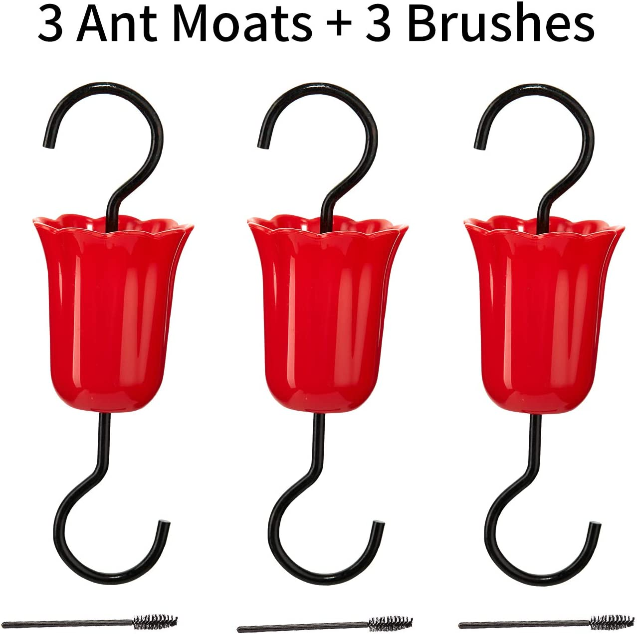 ShinyArt Flower Ant Moat for Hummingbird Feeder- 3 Red Ant Moats and 3 Brushes, Authentic Trap Gets Rid of Ants Fast & 100% Safe and All Natural for Your Nectar Feeder