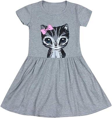 Julhold - Vestido de algodón para niños y niñas, diseño de Lazo con Estampado de Gatos, 1-6 años: Amazon.es: Ropa y accesorios