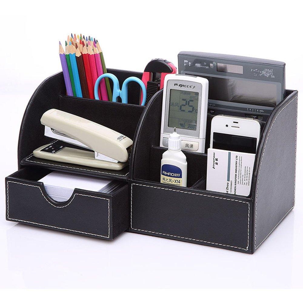 Tisch-Organizer Kunstleder Schreibtisch-Organizer Schreibtischbox Stiftebox Stiftehalter mit Schublade Ordnungssystem f/ür B/üro aus Kunstleder 7 F/ächer Schwarz