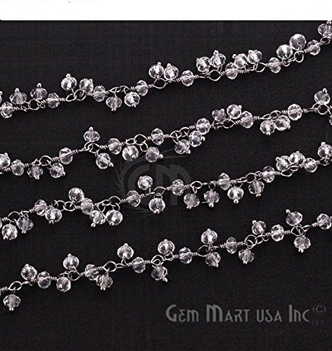 10-feet-crystal-cluster-rosary-chain-25-3mm-black-plated-wire-wrapped-rosary-chain-by-foot-bpcl-3002