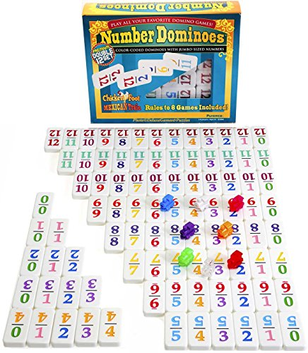 Dominoes Professional Mexican Train, Double 12 Set with Color-Coded Numbers ()
