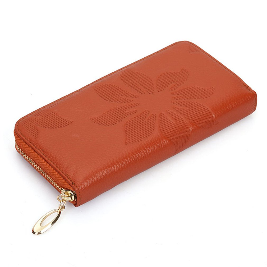 First Layer Of Cowhide Female Wallet Zipper Flowers Soft Leather Long Purse Women Wallets