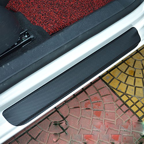 Asianstyle Universal 4Pcs Door Guard Bumper Protection Trim Cover Front Rear Door Entry Sill Guard Scuff Plate Protectors for Most (Door Sill Trim Plates)