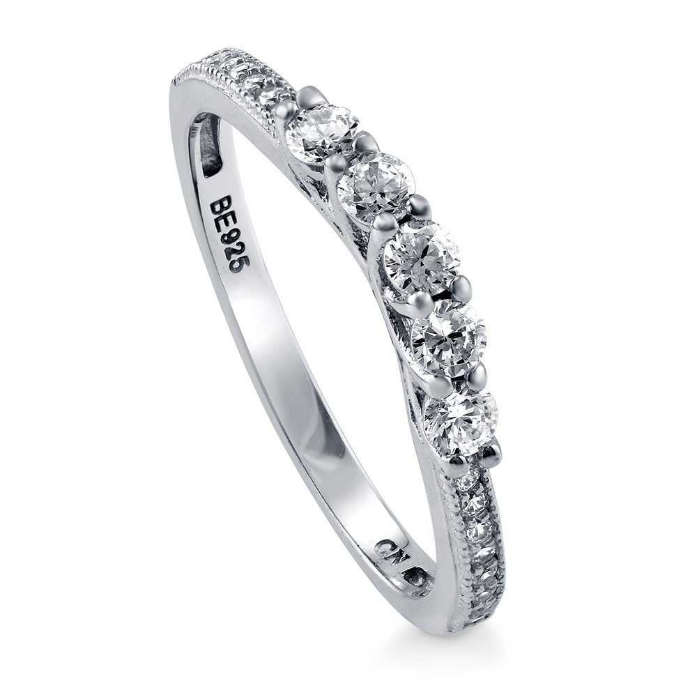 BERRICLE Rhodium Plated Sterling Silver Cubic Zirconia CZ 5-Stone Curved Half Eternity Band Ring Size 6.5