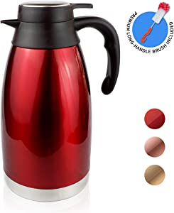 68oz Thermal Coffee carafe for keeping hot and cold-12 Hours Heat Retention/Stainless Steel Double Vacuum Flask thermos and Hot Beverage Dispenser by Zomsta, Red