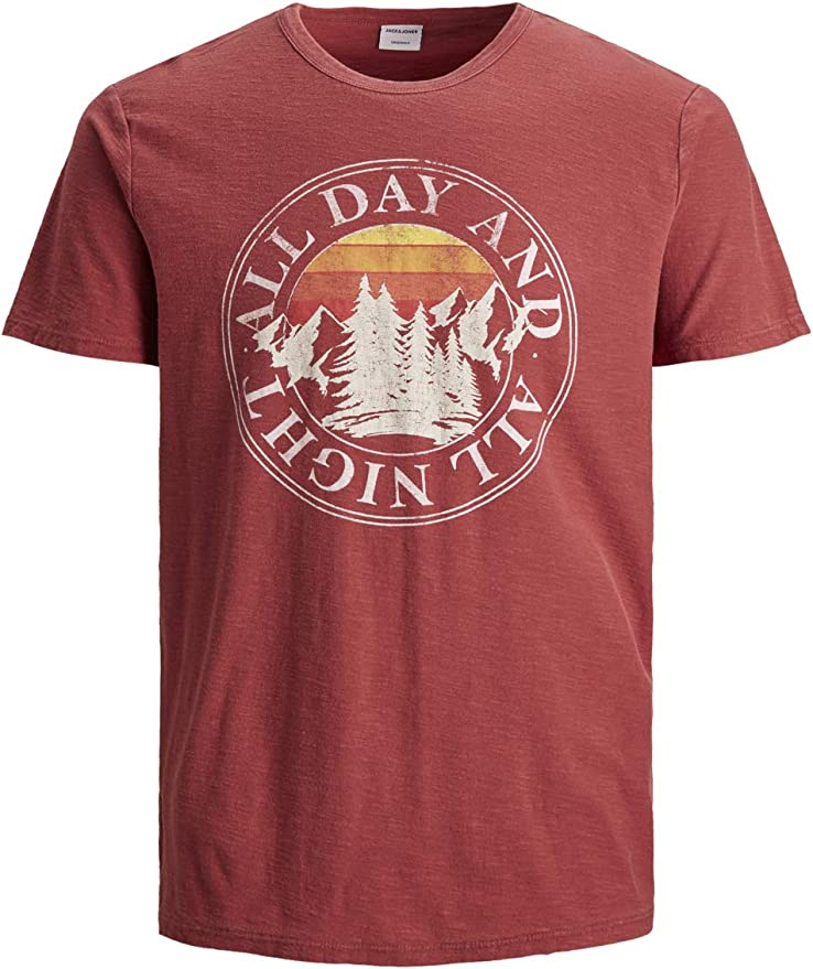 Jack & Jones – Camiseta de manga corta y cuello redondo para hombre JORNERO – Regular Fit rojo blanco azul S M L XL XXL 100% algodón Color rojo. M: Amazon.es: Ropa y accesorios