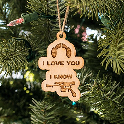 Love Ornament (Ornament - I Love You I Know - Raw Wood 3x2in)