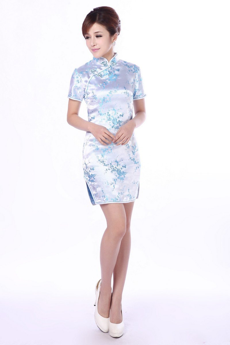 JTC Women's Chinese Blue Short Cheongsam Dress 1pc (Large)