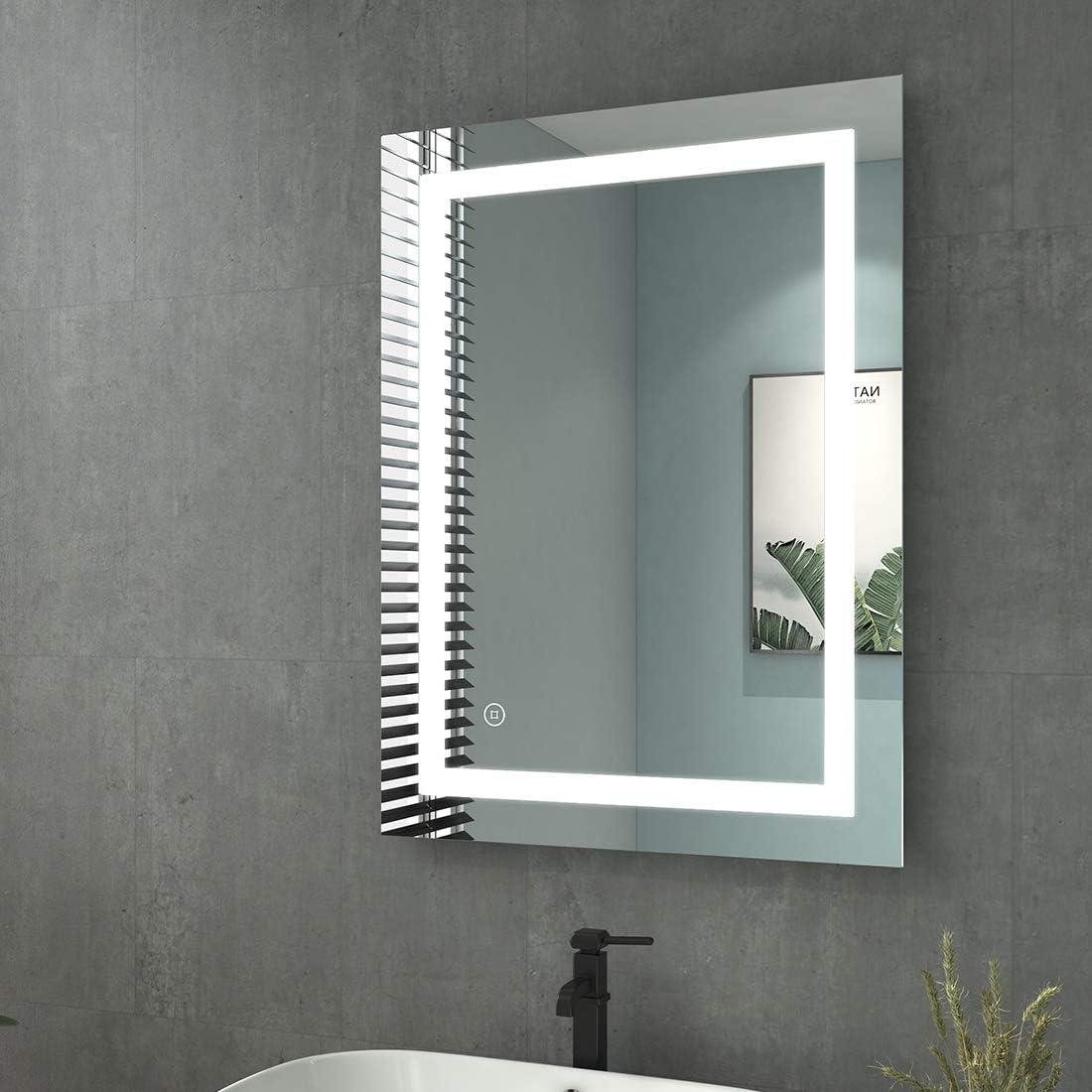 80x60cm Touch+Beschlagfrei+Uhr+3-Fach Vergr/ö/ßerung, Rechteck | Stil E Energieklass A++ welmax Badspiegel mit Beleuchtung LED Badezimmerspiegel Wandspiegel Lichtspiegel Wasserdicht IP44