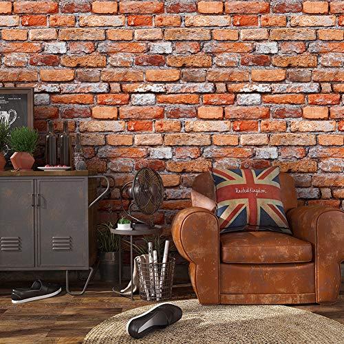 7201 Retro Brick Wallpaper Roll,Orange/Gray/Red Vintage Faux Brick Panel Wallpaper Bedroom Living Room Bar Wall Decoration 393.7in×20.9in