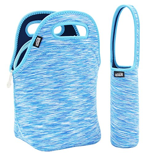 QOGiR Insulated Neoprene Lunch Bag Tote Purse Boxes and Bottle Sleeve for Women, Men, Girls, Boys& Kids-Outdoor, Working or School Lunch 12
