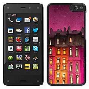 EJOY---Cubierta de la caja de protección para la piel dura ** Amazon Fire Phone ** --Edificio de la noche púrpura Luces