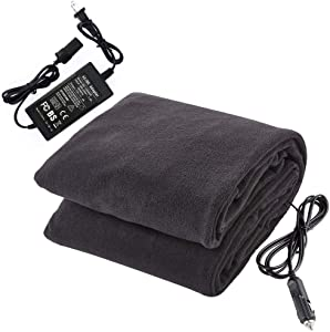 "Big Hippo Electric Car Blanket, 12V Car Electric Blanket Heated Travel Blanket with AC Adapter - Great for Car, Home, Office, Camping, Cold Weather Use (Black, 58""x 41"")"