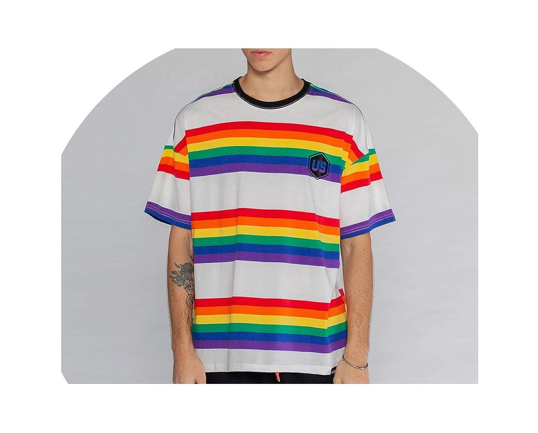 White SHINeIsland Rainbow Striped Short Sleeve T Shirts Streetwear Hip Hop Casual Tees Fashion Tops Tshirts