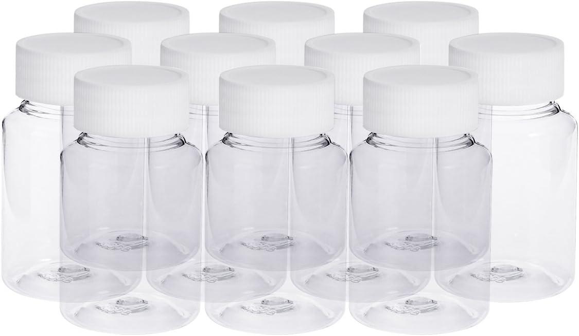 ROSENICE 10 piezas Botellas vacías de plástico de 80ml con tapa para píldoras medicina