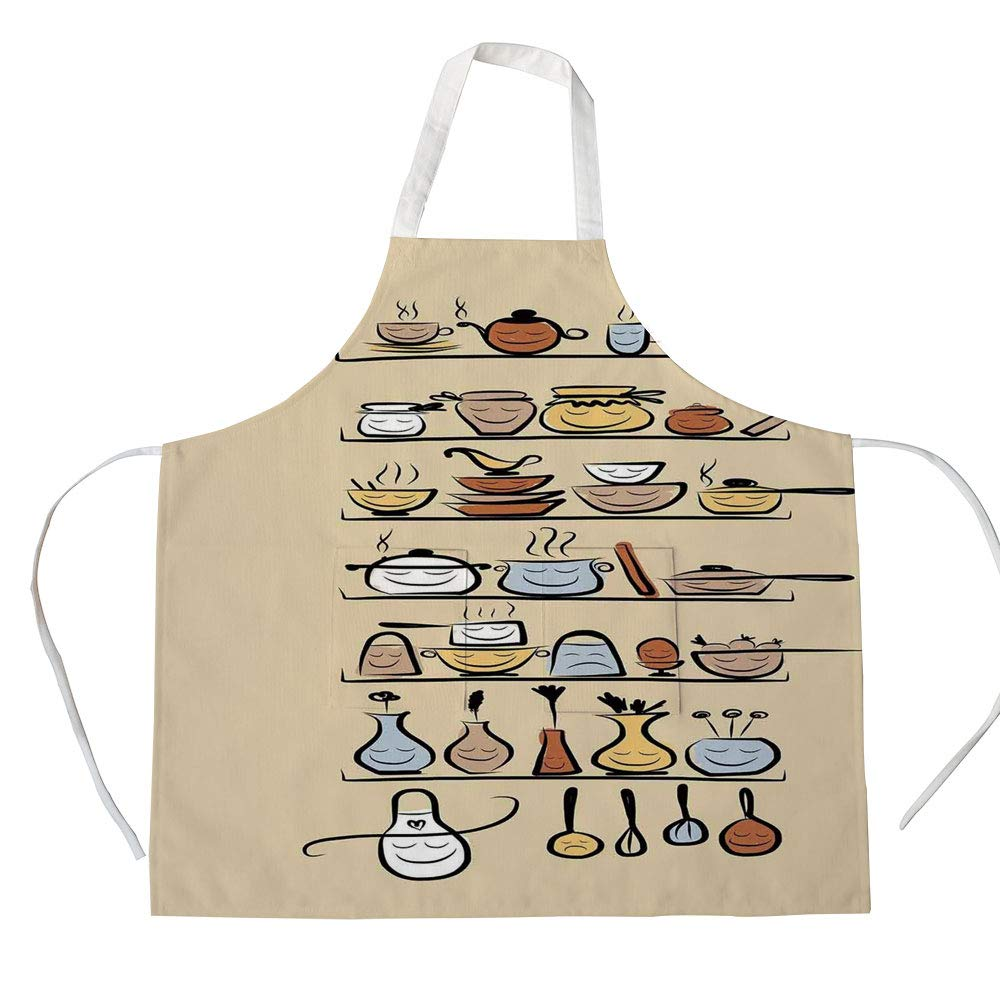 iPrint Cotton Linen Apron,Two Side Pocket,Kitchen Decor,Kitchenware and Utensils Appliances Ornaments Spice Rack Vintage Retro Style Design,Brown Cream,for Cooking Baking Gardening