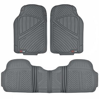 Motor Trend FlexTough Baseline - Heavy Duty Rubber Car Floor Mats, 100% Odorless & BPA Free, All Weather (Gray) - MT773GRAMw1: Automotive