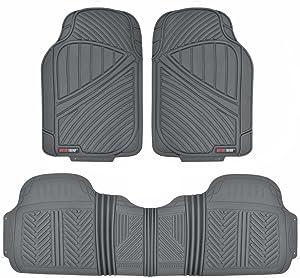 Motor Trend FlexTough Baseline - Heavy Duty Rubber Car Floor Mats, 100% Odorless & BPA Free, All Weather (Gray) - MT773GRAMw1
