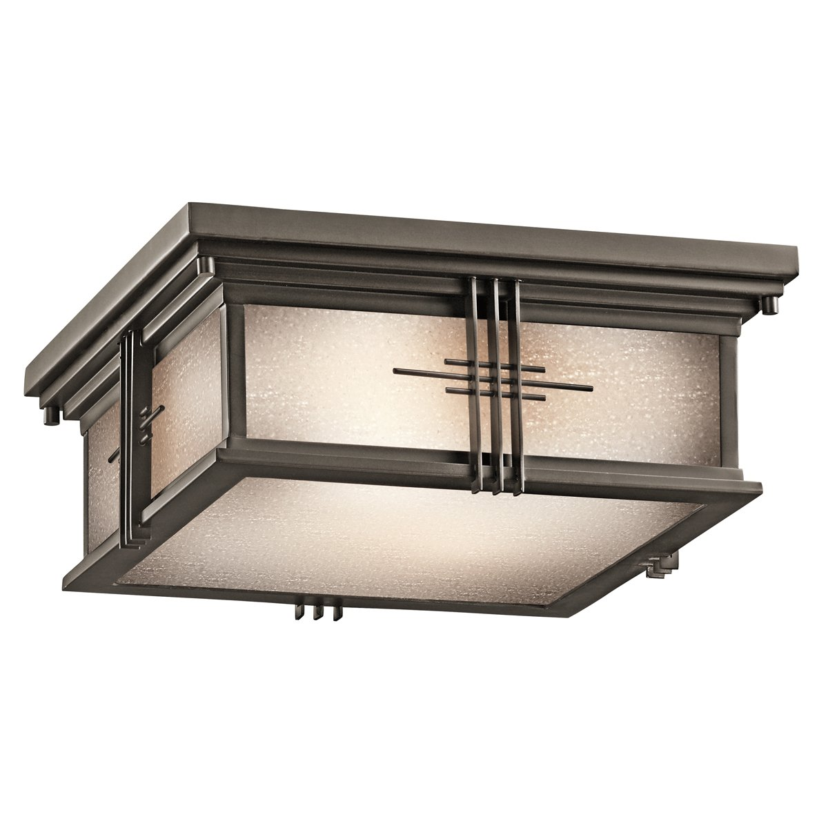 oz portman square lt exterior flush mount olde bronze  - oz portman square lt exterior flush mount olde bronze finish withetched seedy glass  close to ceiling light fixtures  amazoncom