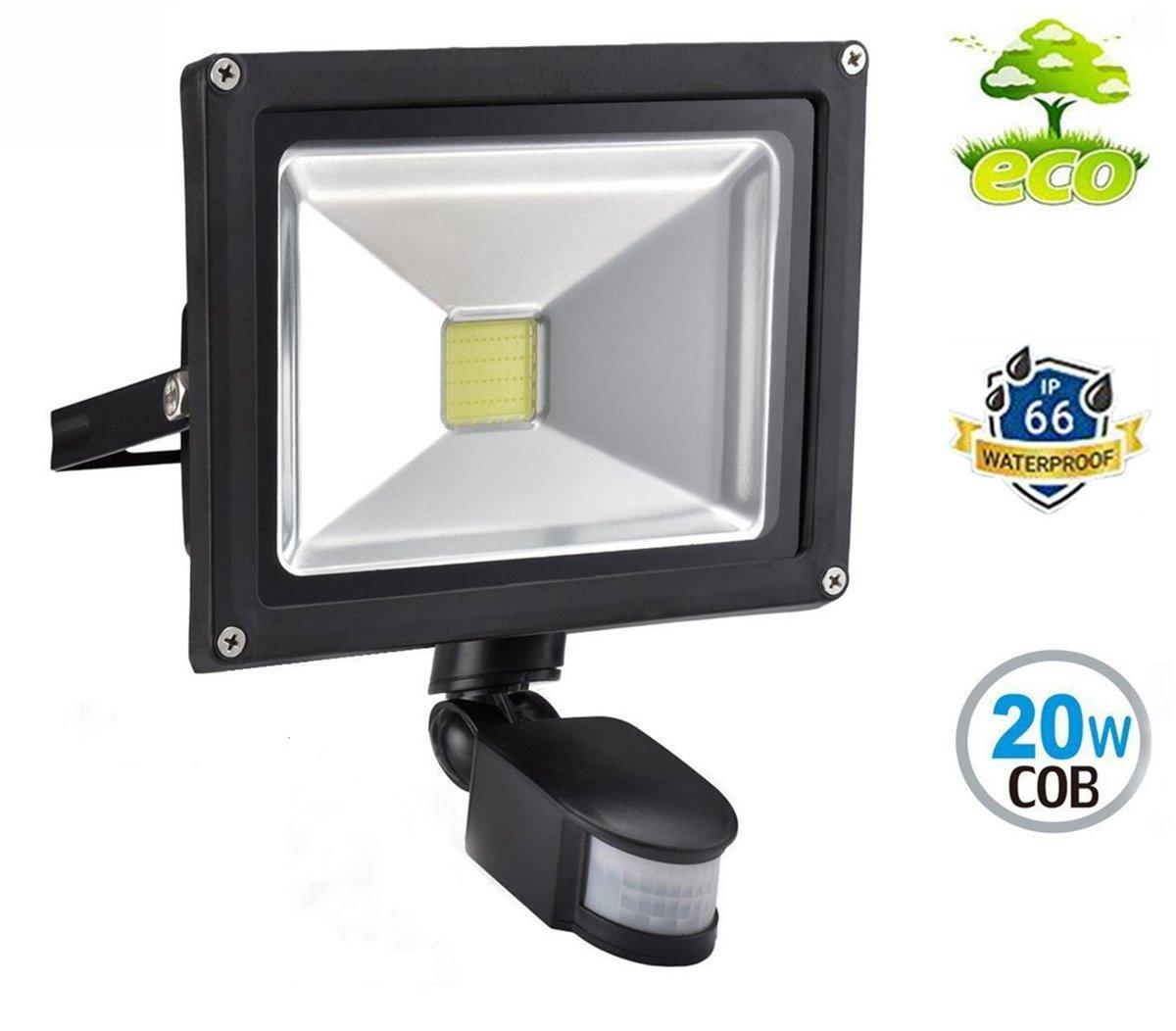 LED Strahler mit Bewegungsmelder Außen 20W Fluter 3000K Warmweiß Außenleuchte IP65 Wasserdicht Scheinwerfer für Garten, Garage, Hotel (Mit keinem Stecker) W-LITE