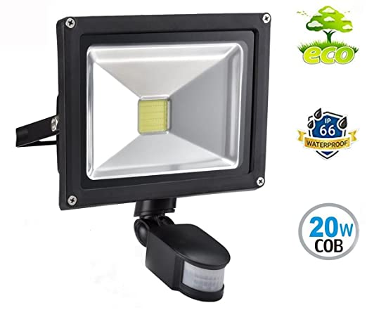 20W Foco con Sensor Movimiento Proyector LED Exterior Iluminación de Exterior y Seguridad para patio,