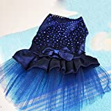 Eastlion Red Lovely Shining Diamond Cute Bow Tutu Puppy Dog Princess Dress Pet Wedding Party Dress Dark Blue XS