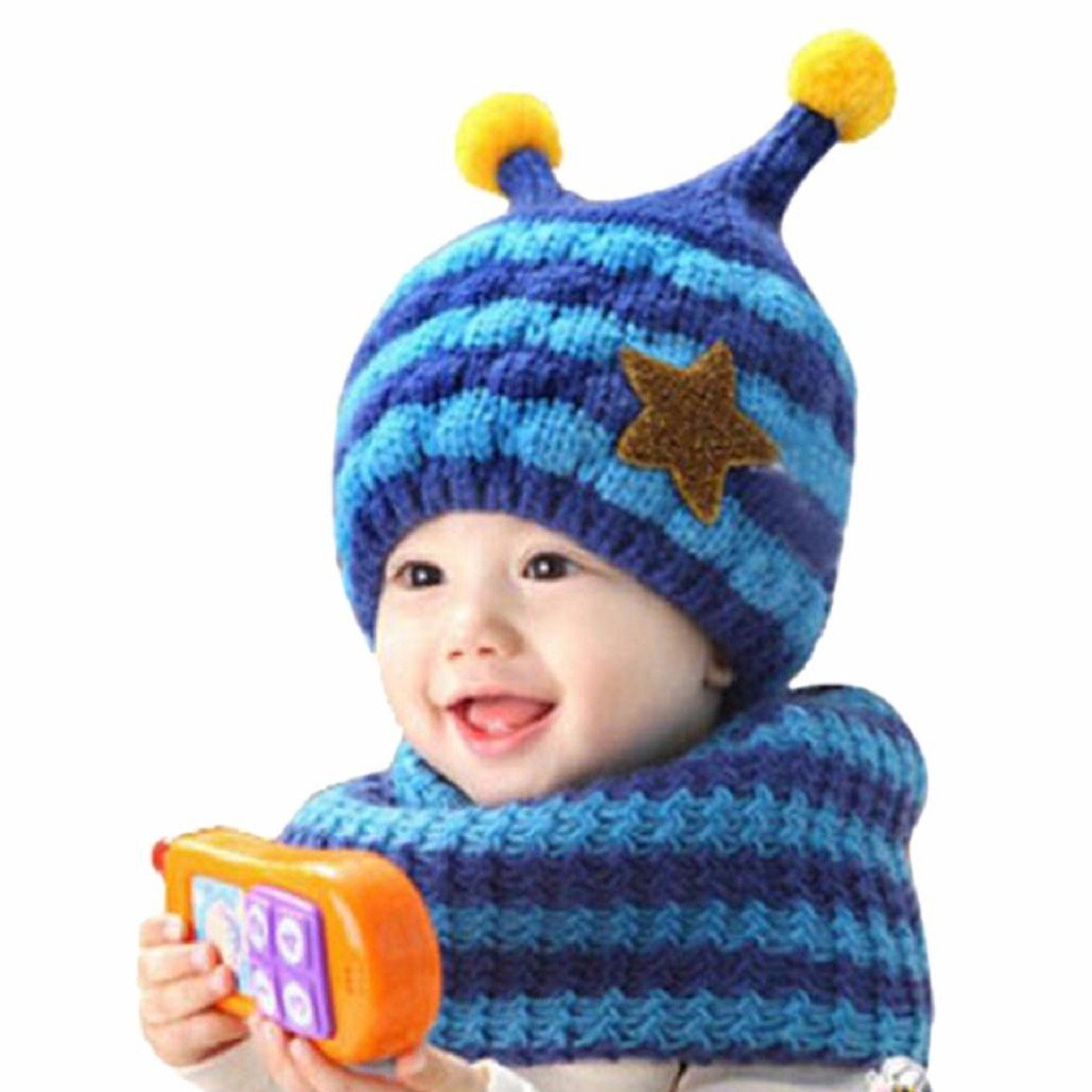 Changeshopping Cute Winter Baby Wool Hat Hooded Scarf Earflap Knit Cap Toddler Changeshopping 5464