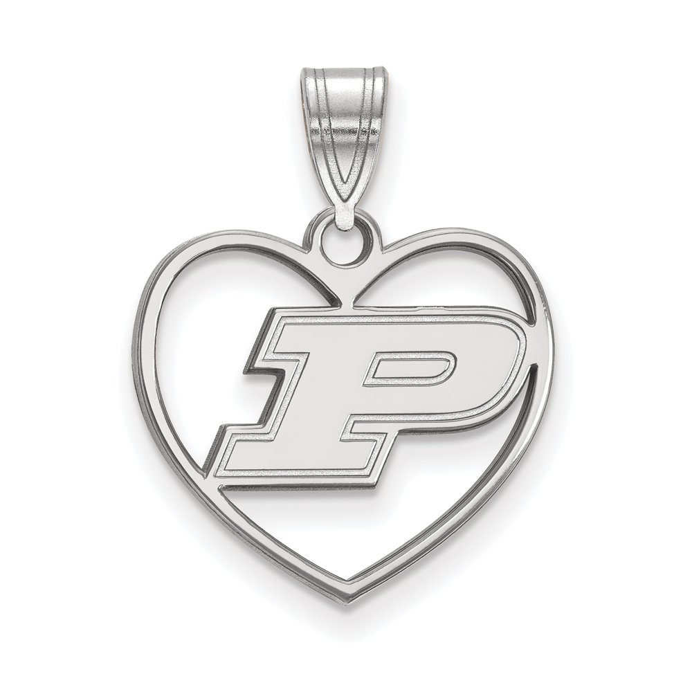The Black Bow NCAA Sterling Silver Purdue Heart Pendant Necklace - 16 Inch