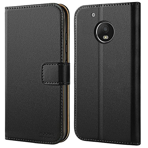 HOOMIL Case Compatible with Motorola Moto G5 Plus, Premium Leather Flip Wallet Phone Case for Motorola Moto G5 Plus and Moto G Plus (5th Generation) Cover, Black (Carry Soft Case Leather Motorola)