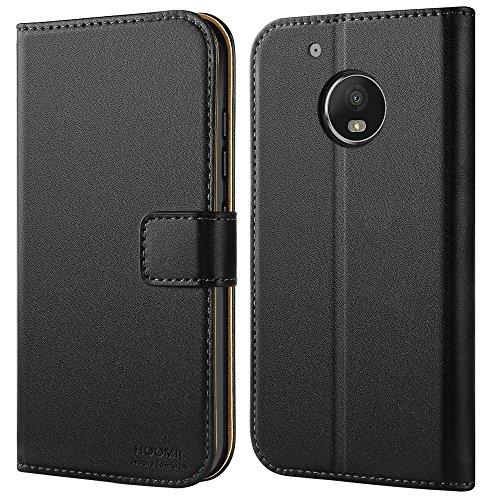 Moto G5 Plus Case, HOOMIL Premium Leather Case for Motorola G5 Plus / Moto G Plus (5th Generation) Phone Wallet Case Cover (Black)