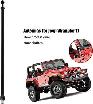 Amazon Com 13 Inch Antenna For Jeep Wrangler Tj 1997 2006 Upgrade Antenna Replacement Am Fm Metal Aluminium Heavy Duty Black Home Audio Theater