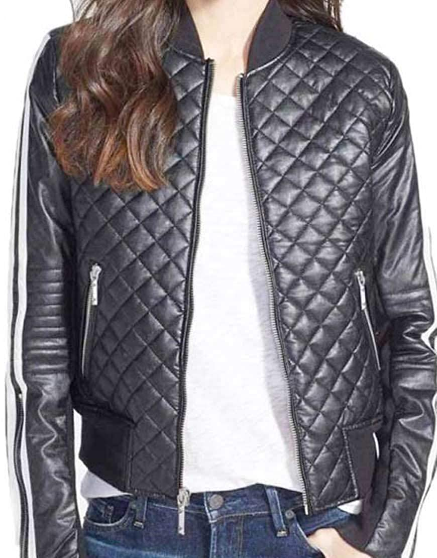 Black Abbraci Quilted Motorcycle Rib Collar Women's Leather Bomber Biker Jacket