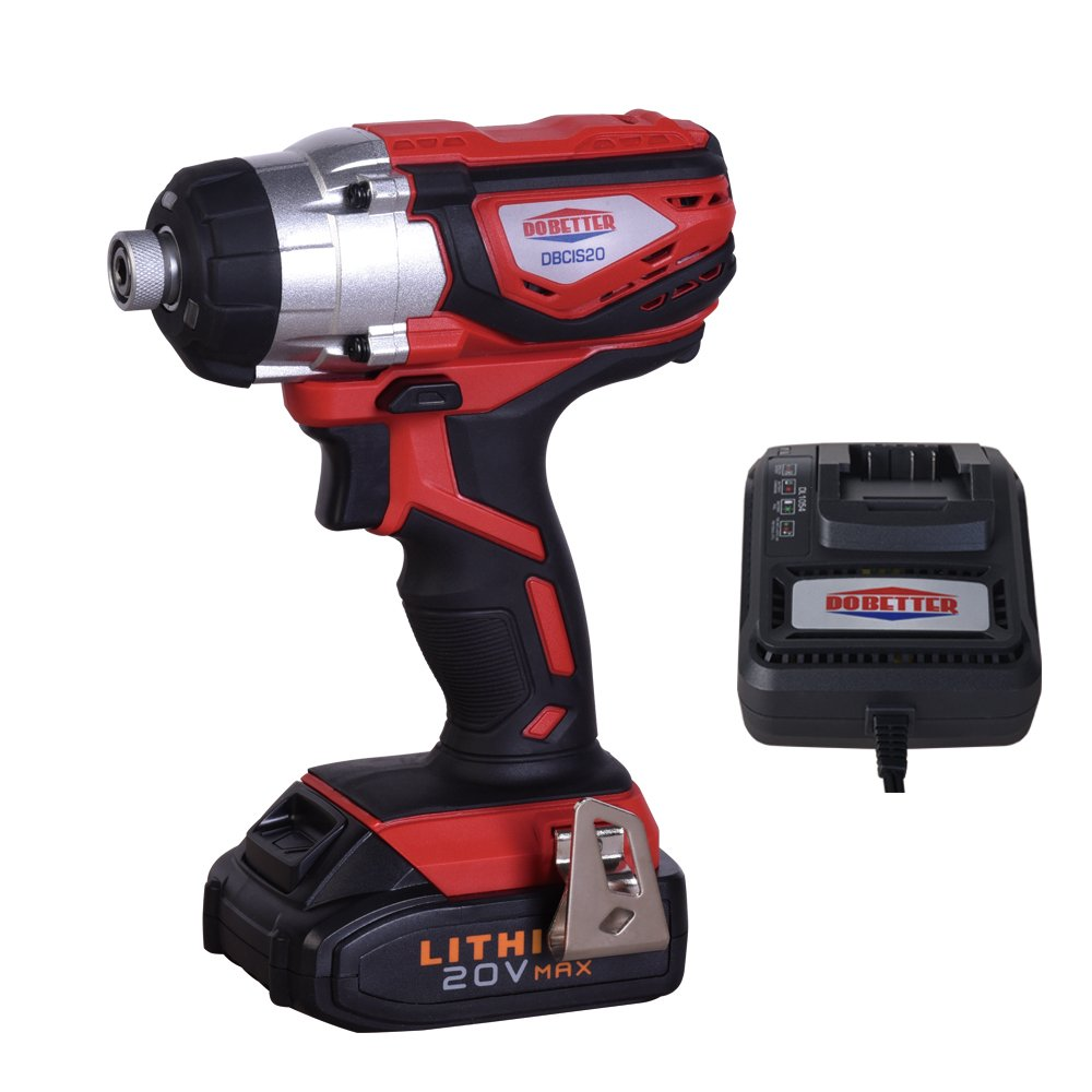 Dobetter DBCIS20 20V MAX Lithium-Ion 1/4-Inch Hex Impact Driver with LED Work Light - 1 Pack, Fast Charger