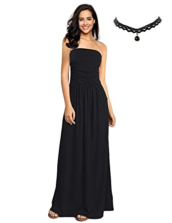 BUOYDM Women Casual Maxi Dress Summer with Flower Bandeau Strapless for Beach Party Evening Dresses Black