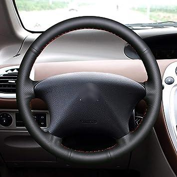 US High Quality 100/% Genuine Leather DIY Car Steering Wheel Cover Black line