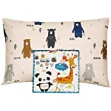Alasville Toddler Pillowcases 100% Organic Cotton Shell 13x18 Soft Washable Pillow Cases for Kids Dust Mite & Allergy Control Baby Pillow Cover Cases(Cute Bear)