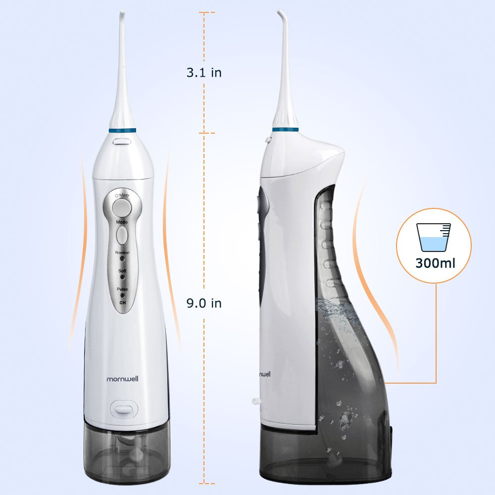 Mornwell D52 300ml Portable Water Flosser, Cordless Electric Dental Jet Flosser, USB Rechargeable Professional Oral Irrigator for Teeth, Braces & Bridges, Leakproof, Waterproof by Mornwell (Image #4)
