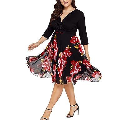 fbbe123524a URSING Femme Robe mi-Longues Col V Wrap en Mousseline de Soie Floral  Manches Longues