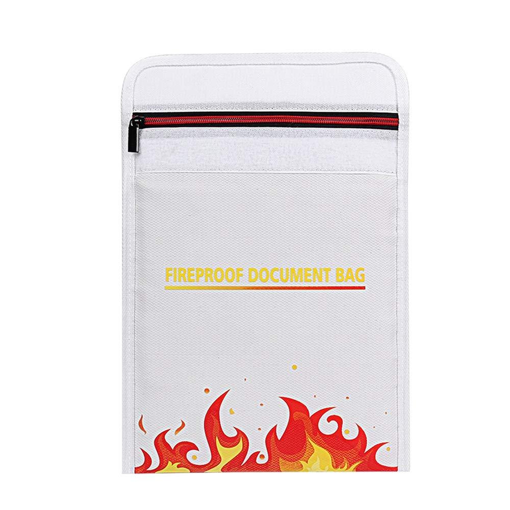 Borsa ignifuga,Umiwe Sacchetto del Documento a prova di fuoco Borsa ignifuga rivestita in silicone sacchetto dei soldi (Bianco 30 x24 cm)