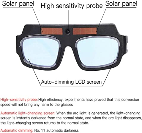 Solar Powered Auto Darkening Anti-glare Welding Glasses Eye Protection Goggles
